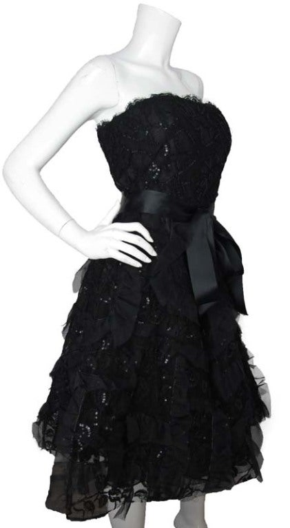 OSCAR DE LA RENTA Black Silk Strapless Lace/Sequins Dress image 3