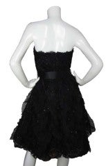 OSCAR DE LA RENTA Black Silk Strapless Lace/Sequins Dress thumbnail 4