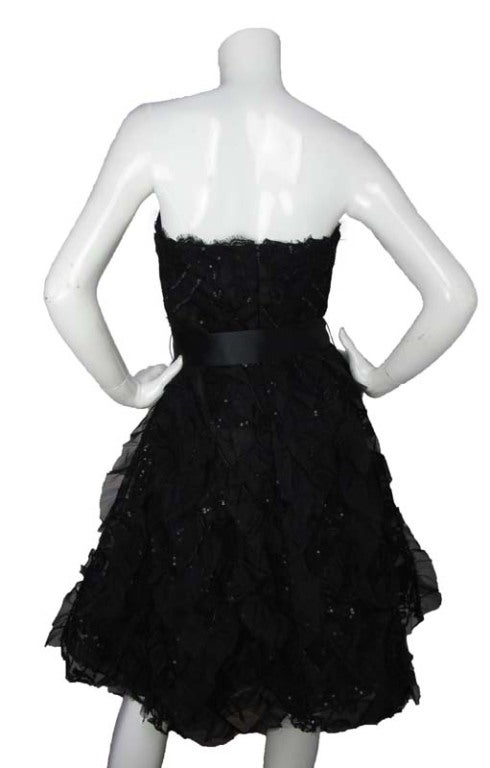 OSCAR DE LA RENTA Black Silk Strapless Lace/Sequins Dress image 4