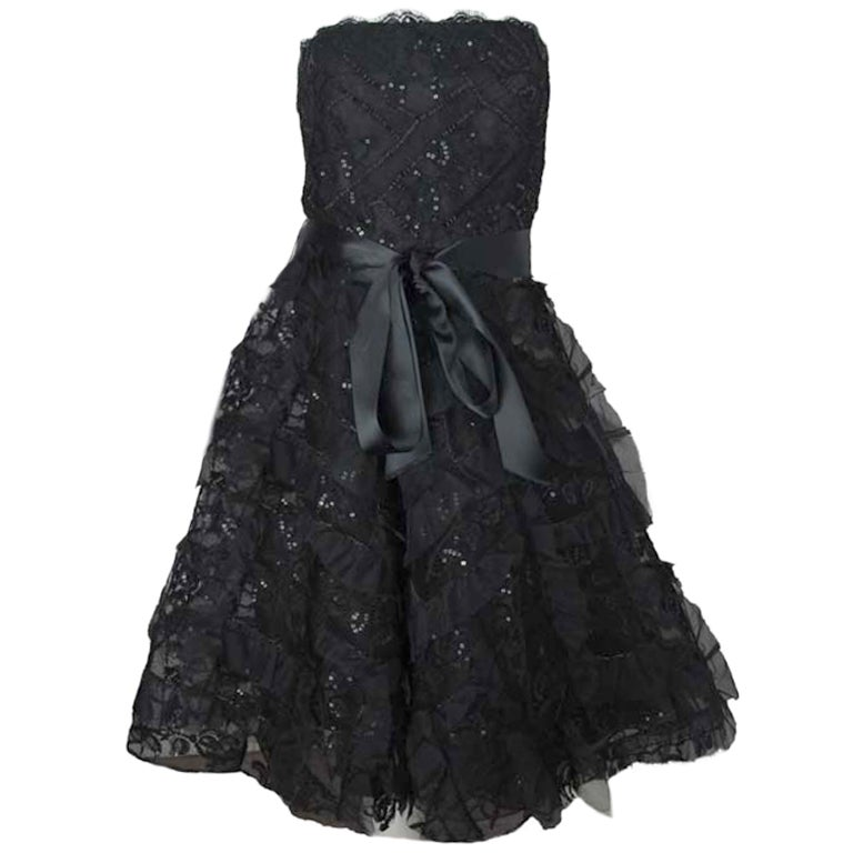 OSCAR DE LA RENTA Black Silk Strapless Lace/Sequins Dress