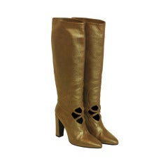 HERMES Bronze Tall Glitter Boot With Cutout