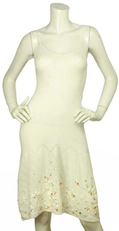 CHANEL White Sleeveless Floral Dress 2