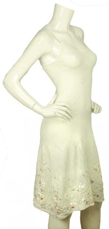 CHANEL White Sleeveless Floral Dress 3