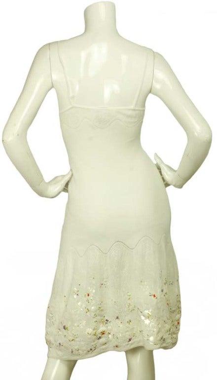 CHANEL White Sleeveless Floral Dress 4