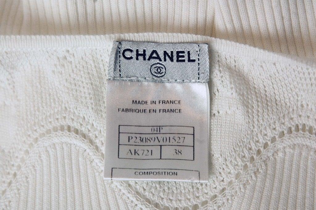 CHANEL White Sleeveless Floral Dress 5