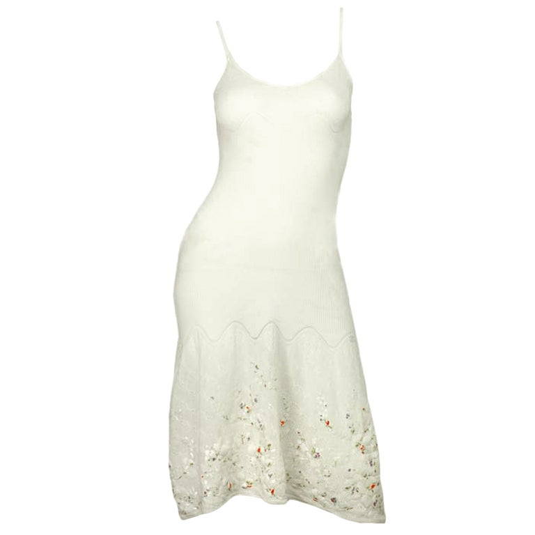 CHANEL White Sleeveless Floral Dress 1