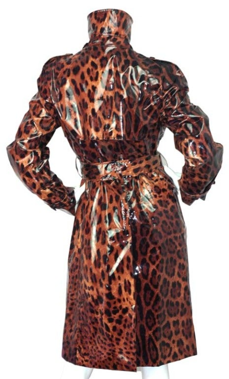 dbdcfa0a829e DOLCE and GABBANA Vinyl Leopard Print Double Breasted Coat at 1stdibs