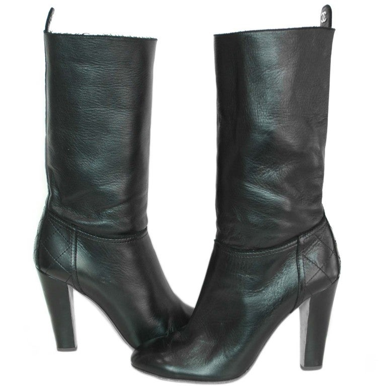 chanel black leather boots at 1stdibs
