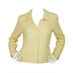 CHANEL Cream Jacket With CC Buttons Sz 40