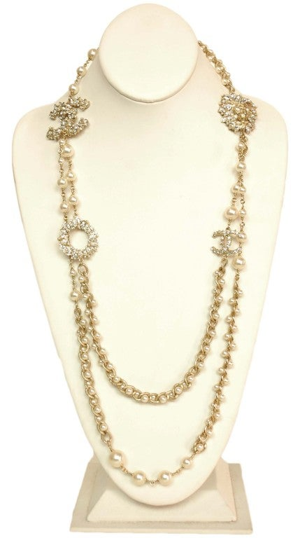 CHANEL Goldtone Pearl Necklace with Rhinestone Lion Head & CC image 2
