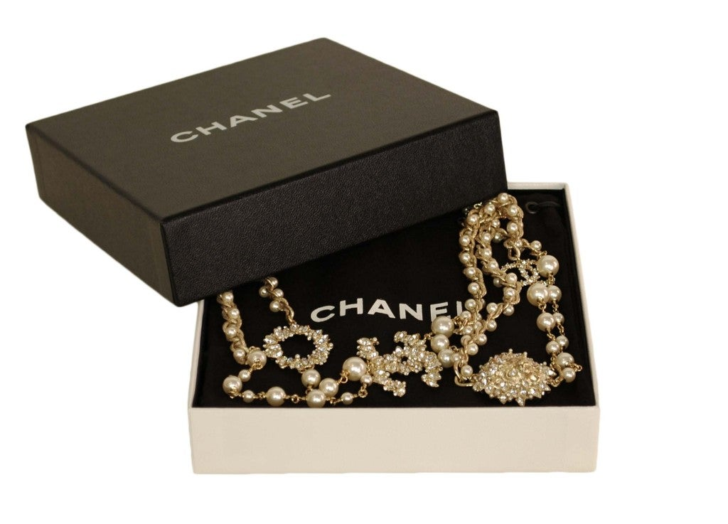 CHANEL Goldtone Pearl Necklace with Rhinestone Lion Head & CC image 3