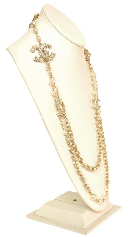 CHANEL Goldtone Pearl Necklace with Rhinestone Lion Head & CC image 4