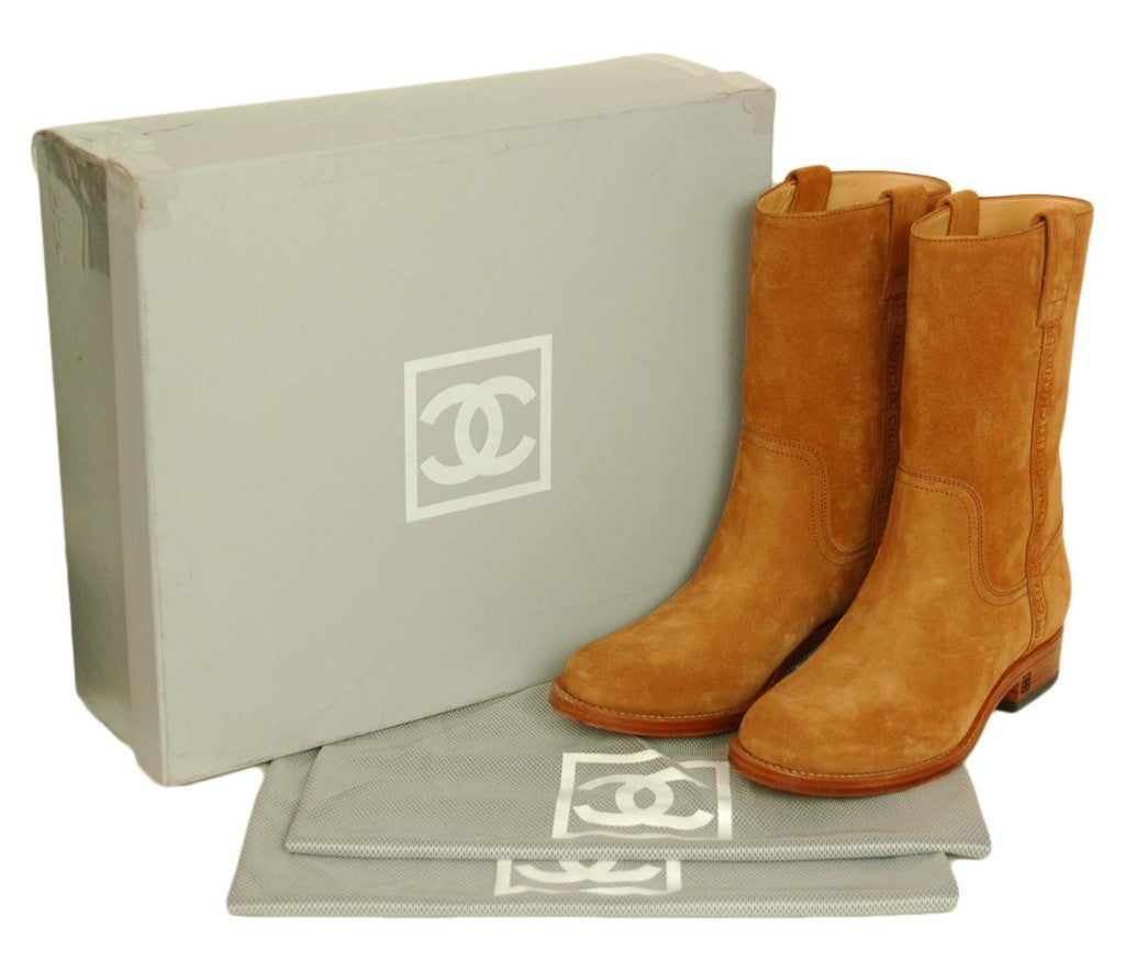 CHANEL Camel Suede Boots 3