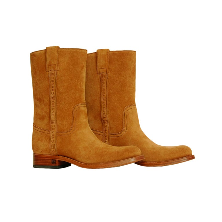 CHANEL Camel Suede Boots 1