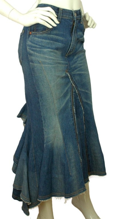 JUNYA WATANABE Denim Long Skirt With Back Ruffle image 2