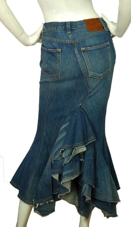 junya watanabe denim skirt with back ruffle image 3