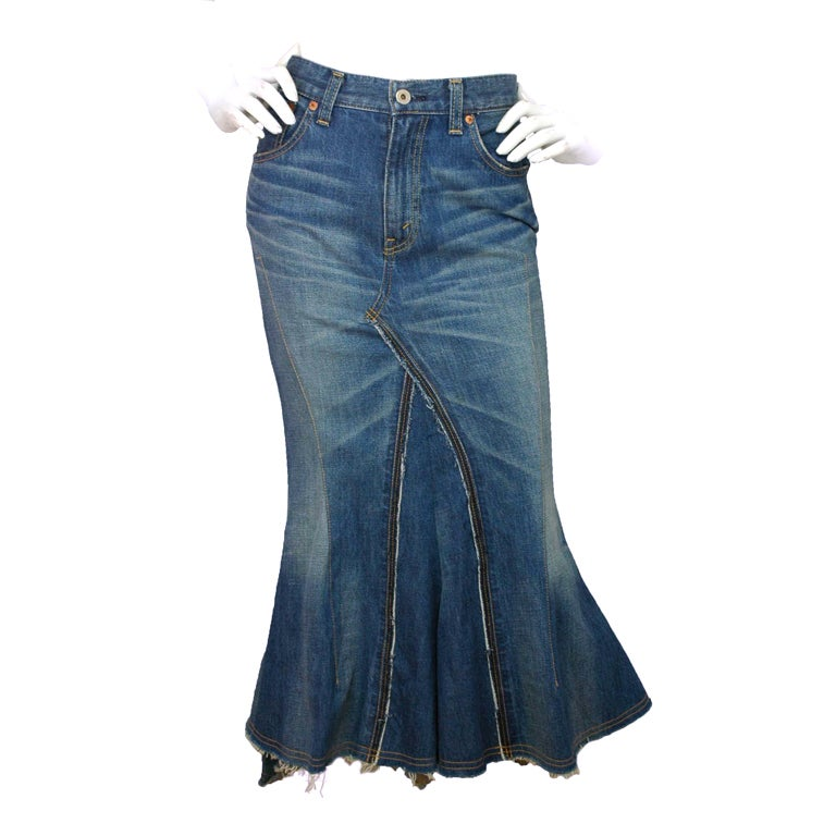 JUNYA WATANABE Denim Long Skirt With Back Ruffle