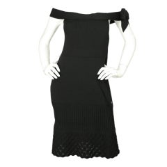 CHANEL Black Stretch Knit off the Shoulder with Crochet Detail
