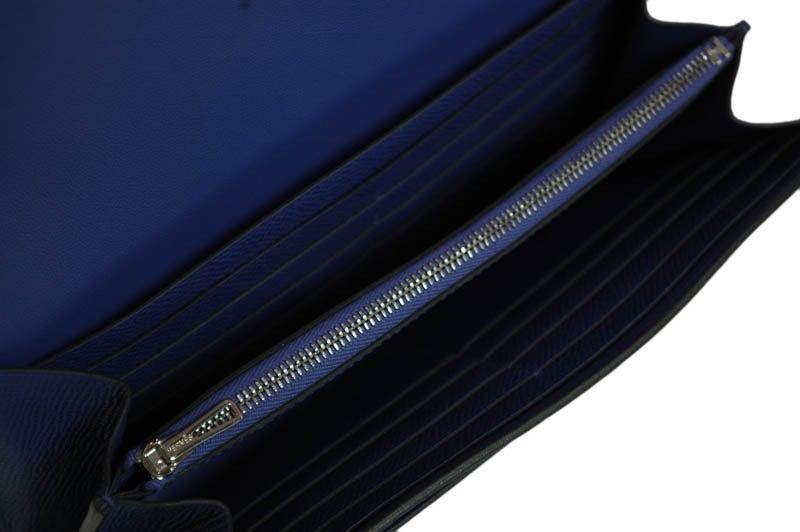 HERMES NIB Blue Electric Epsom Constance Long Combination Clutch 5