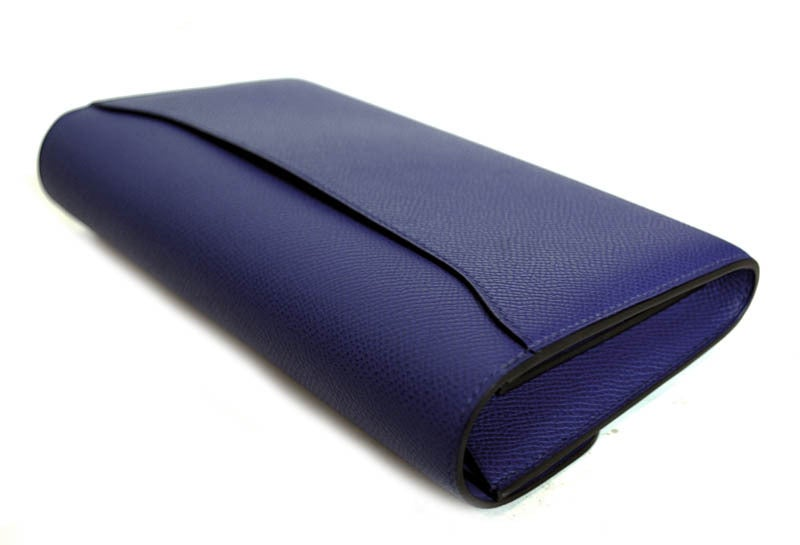 HERMES NIB Blue Electric Epsom Constance Long Combination Clutch 7