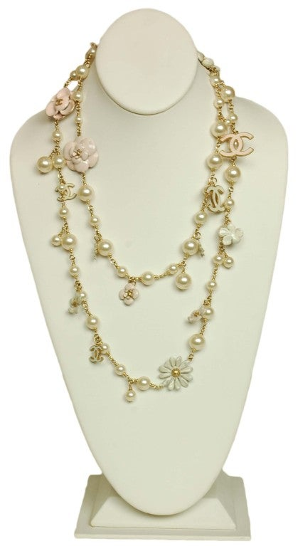 CHANEL Pearl Necklace with Pink Camellia Flowers image 2