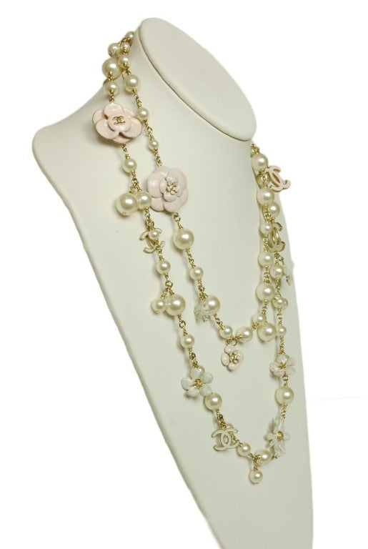 CHANEL Pearl Necklace with Pink Camellia Flowers image 3