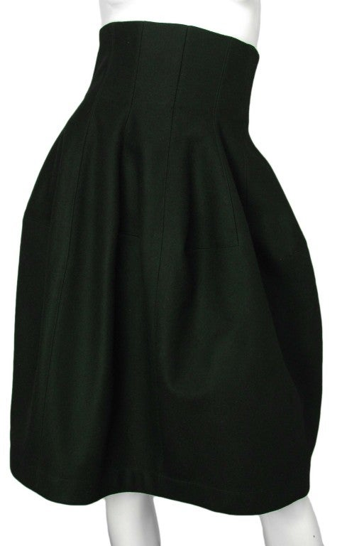 ALAIA Black Wool High Waisted Bubble Skirt 2