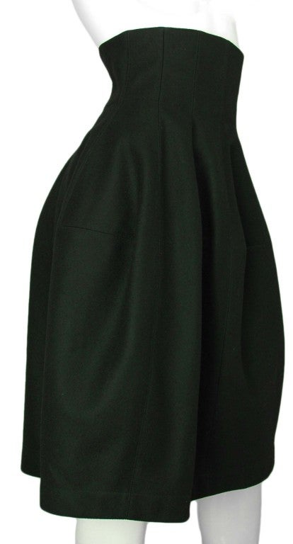 ALAIA Black Wool High Waisted Bubble Skirt 3