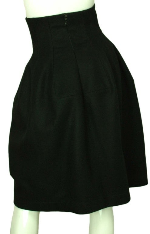 ALAIA Black Wool High Waisted Bubble Skirt 4