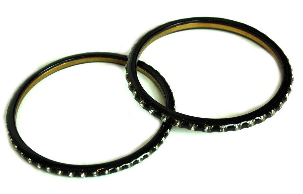 CHANEL Black Set of Resin & Rhinestone Bangles image 2