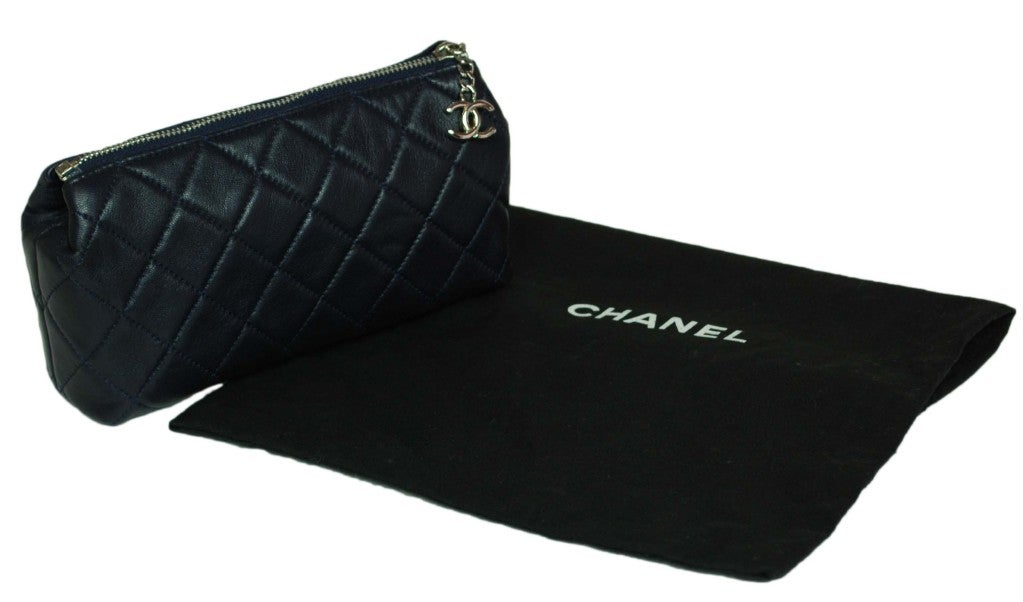 CHANEL Navy Quilted Leather Cosmetic Bag with Silver Hardware 2
