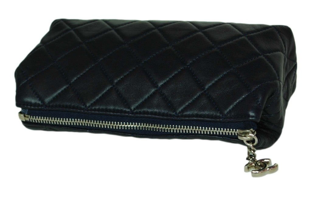 CHANEL Navy Quilted Leather Cosmetic Bag with Silver Hardware 3