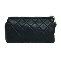 CHANEL Navy Quilted Leather Cosmetic Bag with Silver Hardware