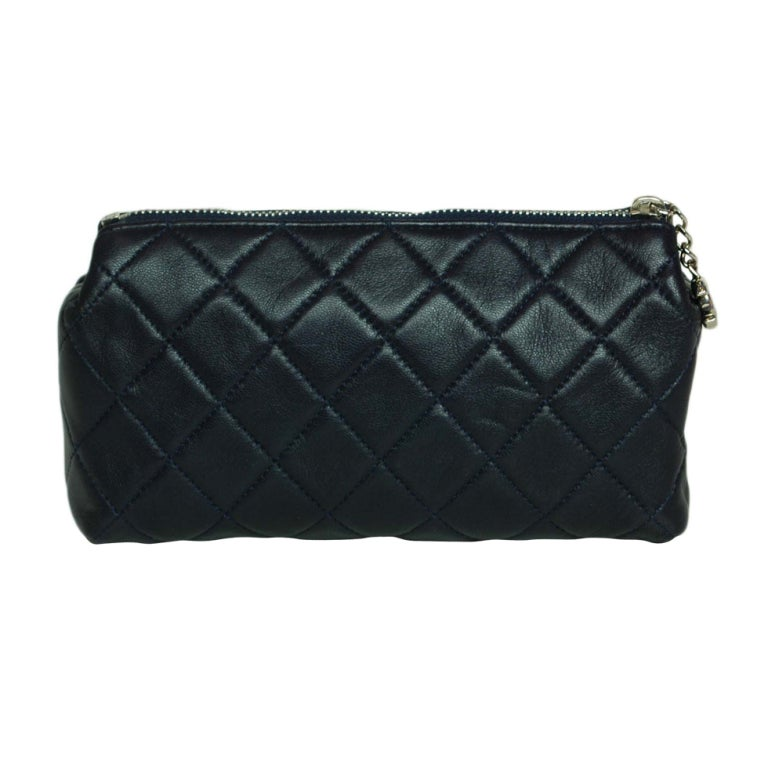 CHANEL Navy Quilted Leather Cosmetic Bag with Silver Hardware 1