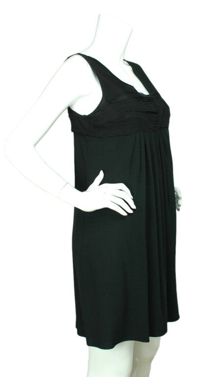 CHRISTIAN DIOR Black Sleeveless Dress with Pleated Top - Size 8 2