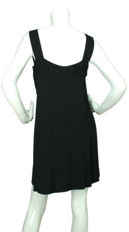 CHRISTIAN DIOR Black Sleeveless Dress with Pleated Top - Size 8 3