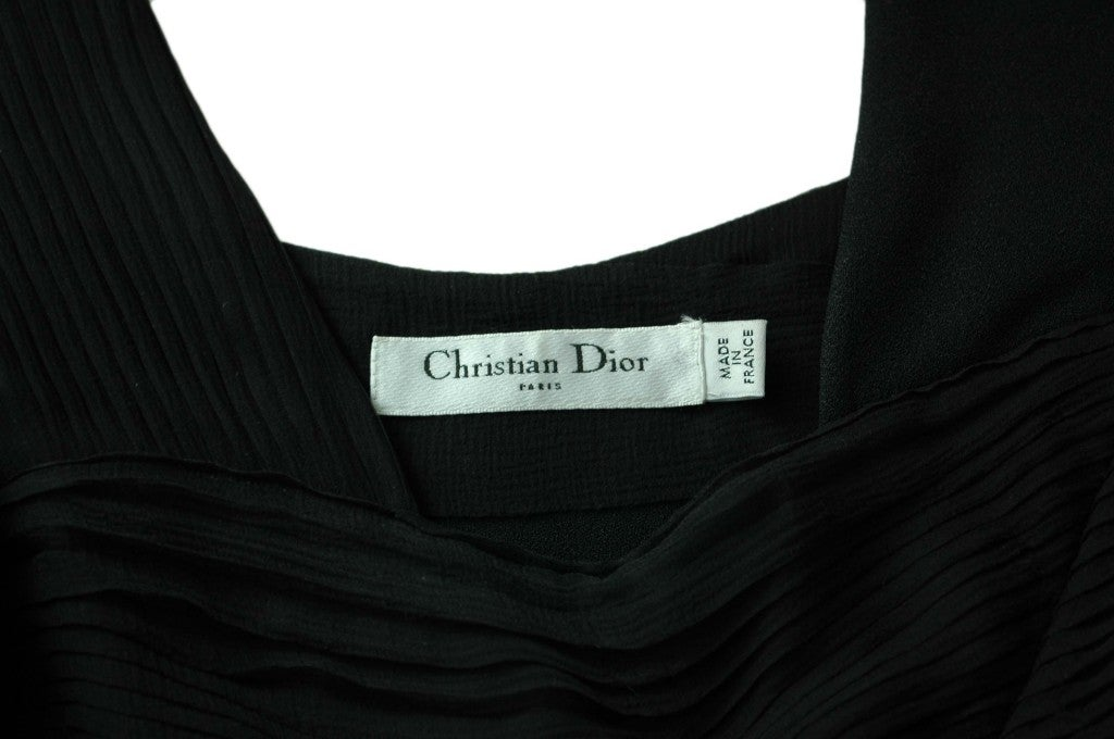 CHRISTIAN DIOR Black Sleeveless Dress with Pleated Top - Size 8 4