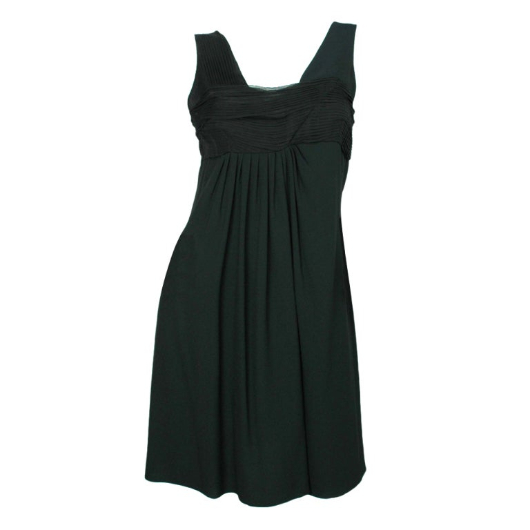 CHRISTIAN DIOR Black Sleeveless Dress with Pleated Top - Size 8 1