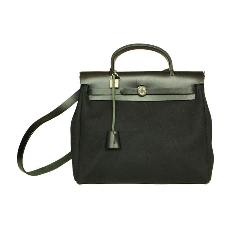 Hermes Canvas Black 2 In 1 Her Bag At 1stdibs