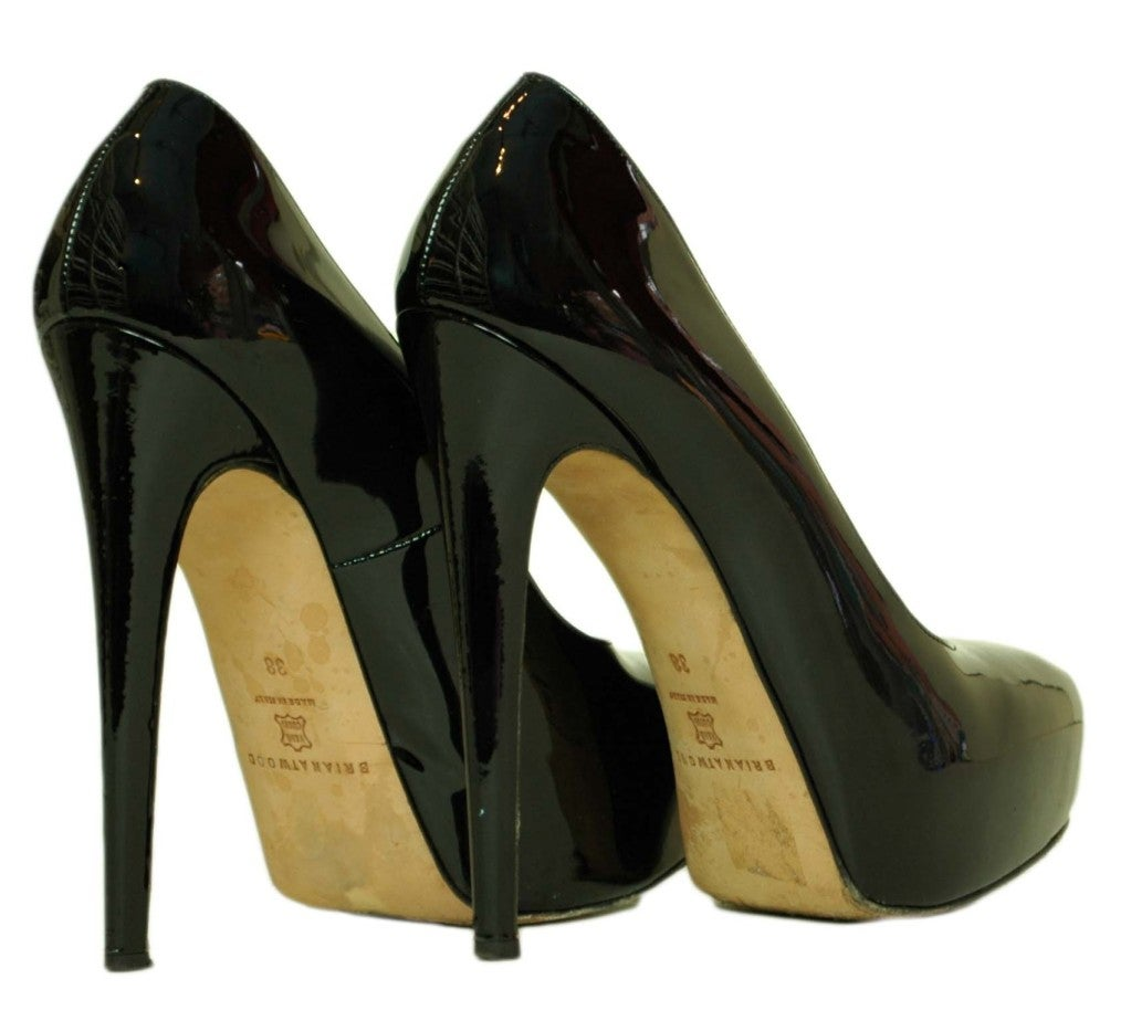 BRIAN ATWOOD Black Patent Hiidden Platform Shoes - Size 8 3