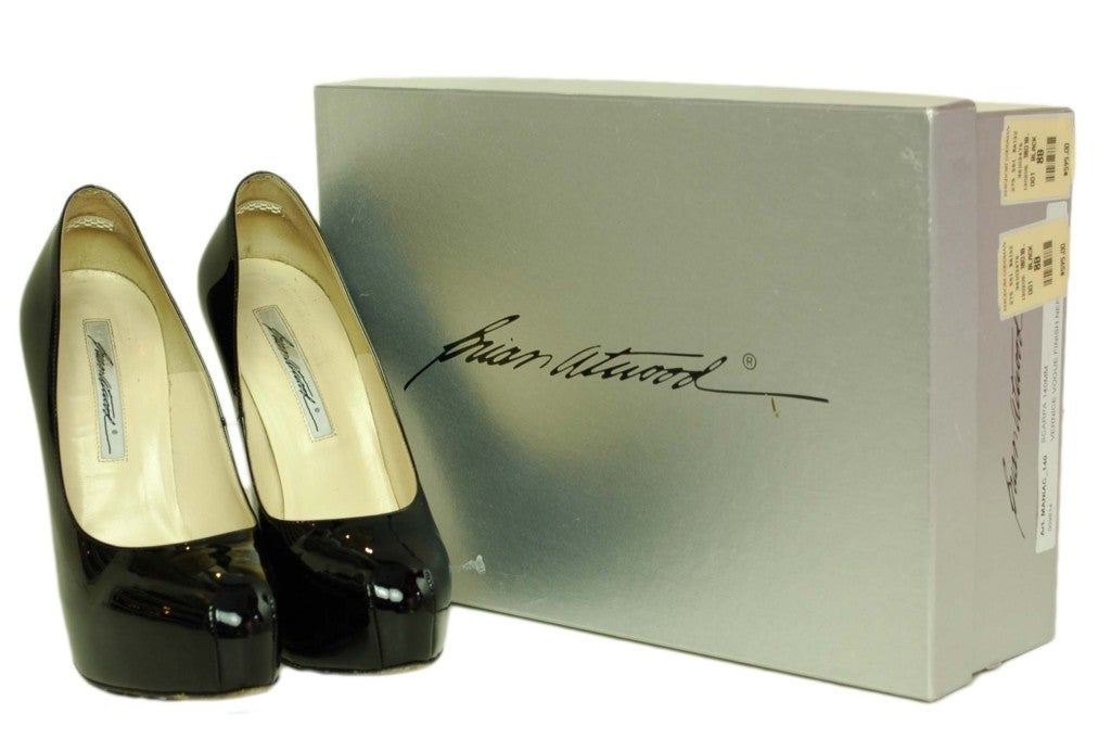 BRIAN ATWOOD Black Patent Hiidden Platform Shoes - Size 8 4
