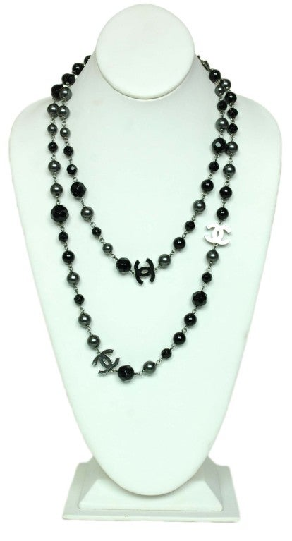 CHANEL Black/Gray Necklace with CC Charms image 2