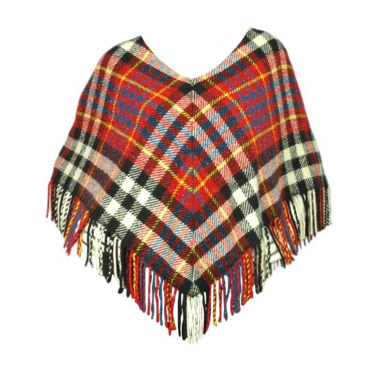 BURBERRY Red/White/Blue Wool Plaid Poncho 1