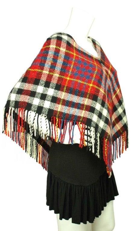 BURBERRY Red/White/Blue Wool Plaid Poncho 2