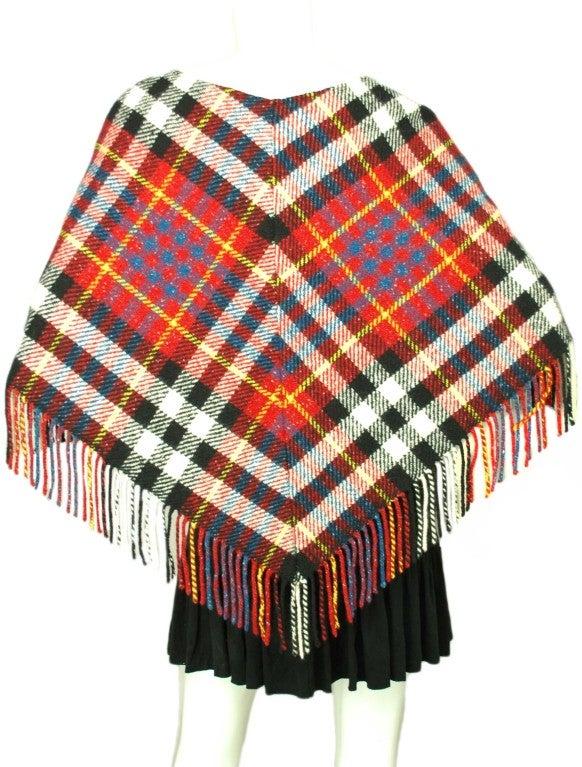 BURBERRY Red/White/Blue Wool Plaid Poncho 3