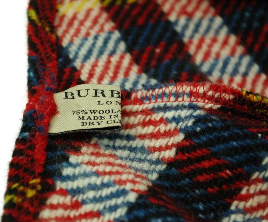 BURBERRY Red/White/Blue Wool Plaid Poncho 4