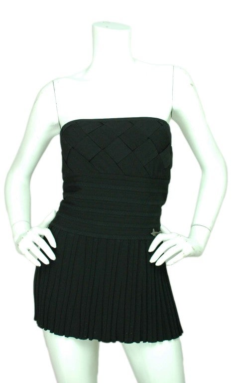 CHANEL Black Strapless Top with Airplane Emblem - Size 6 2