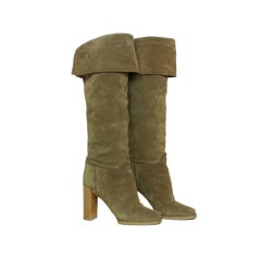 LOUIS VUITTON Suede Tall Boots with Perforated Cuff