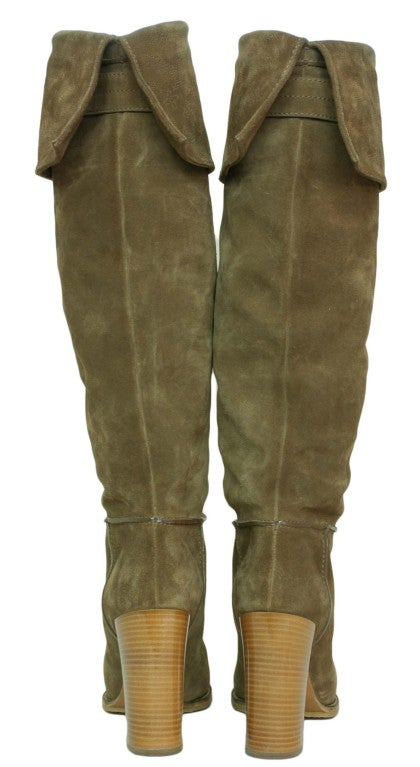 LOUIS VUITTON Suede Tall Boots with Perforated Cuff 3
