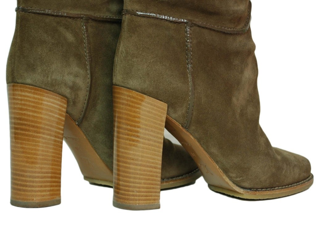 LOUIS VUITTON Suede Tall Boots with Perforated Cuff 4